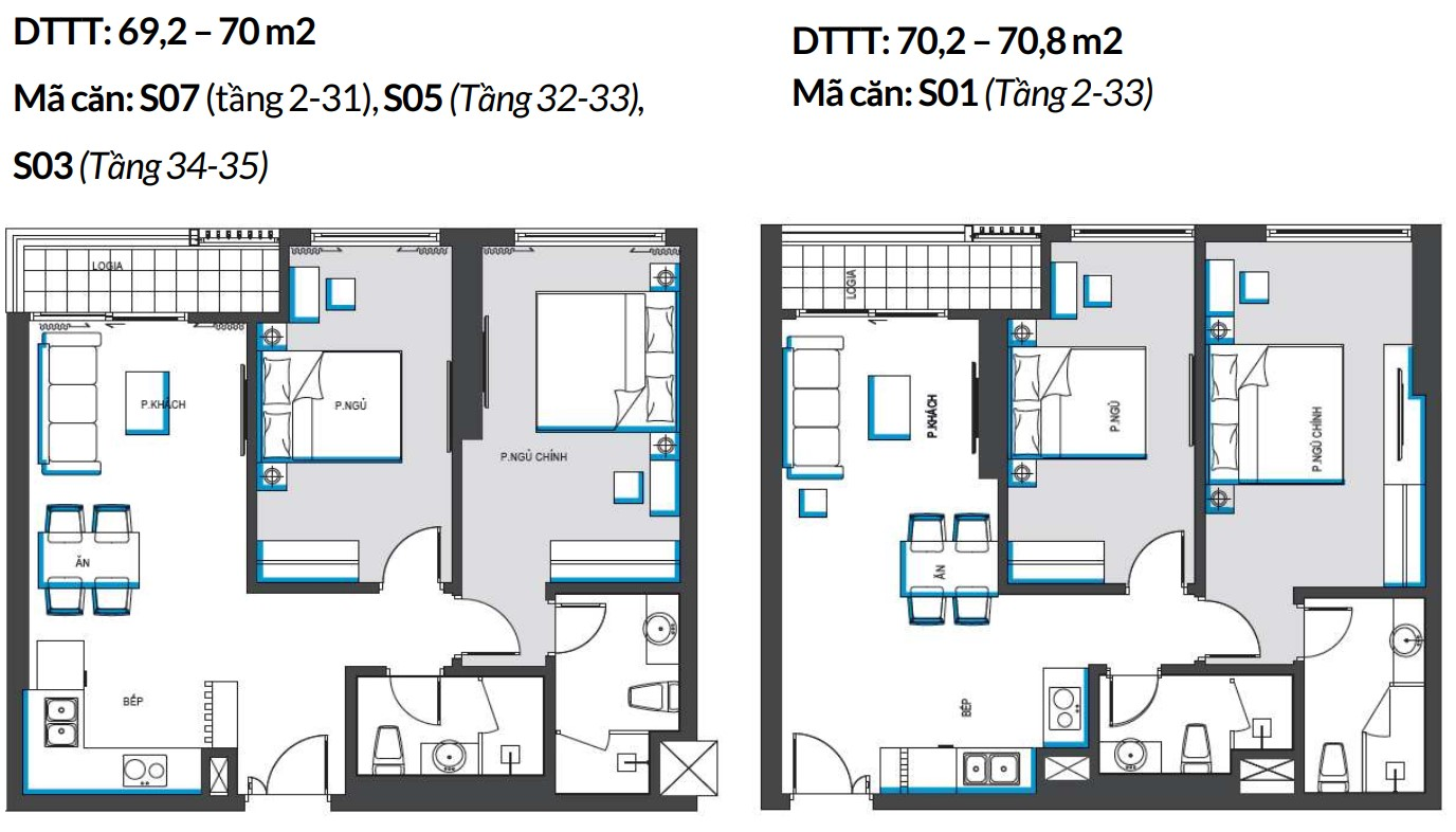 Mặt bằng căn hộ 2 Phòng ngủ,
